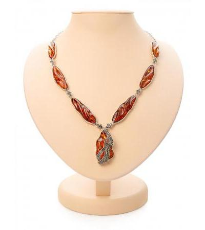 Beautiful silver necklace decorated with amber and Colorado marcasites
