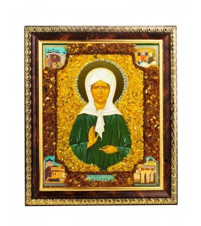 """Icon decorated with amber """"Holy Blessed Eldress Matrona"""""""