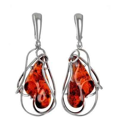 Spectacular earrings with sparkling Rialto cognac amber
