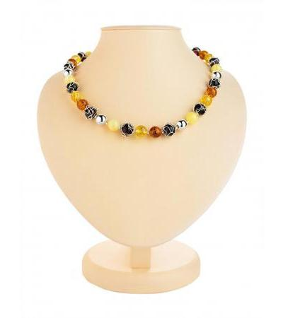 "Bright and beautiful beads from natural amber and silver ""Aphrodite"""