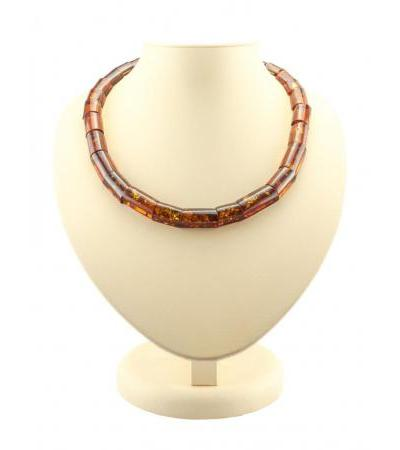 """Necklace made of natural amber """"Red tubes"""""""