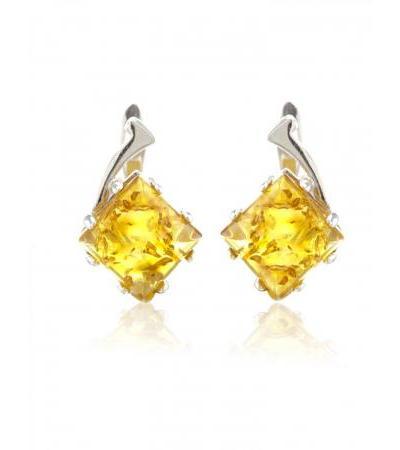 "Silver earrings made of natural Baltic amber cognac color ""Alcazar"""