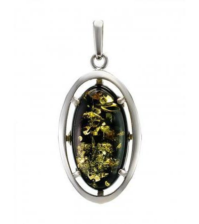 Кулон овальной формы из серебра и натурального зелёного янтаря «Элегия»