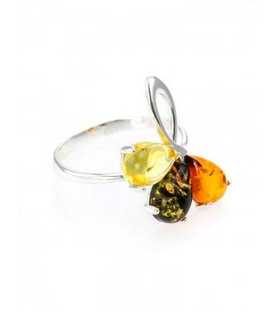 """Bright silver ring with inserts from natural Baltic amber """"Dandelion"""""""