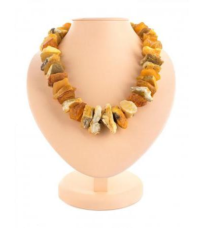 "Unique beads made of natural Baltic raw amber ""Dried fruits"""