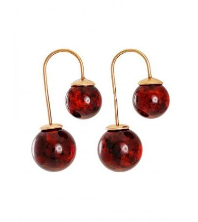 """Earrings made of gilded silver and natural cherry-colored amber """"Pigalle"""""""