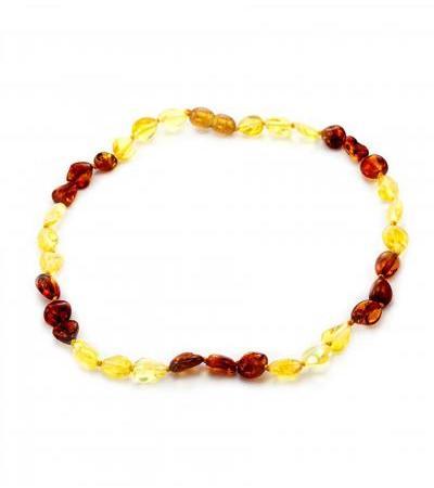 """Short amber beads for children """"Small Olive"""" of golden lemon and cherry color for children"""
