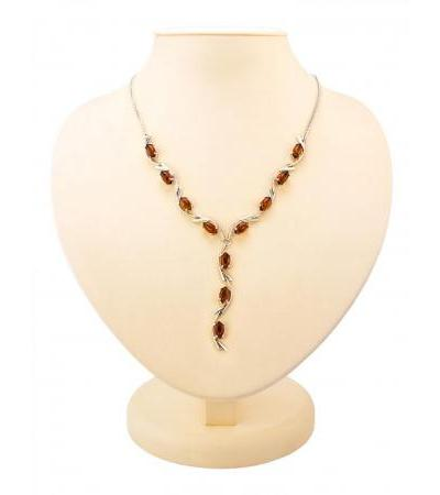 "Luxurious elegant necklace ""Iris"" made of silver and natural Baltic amber"