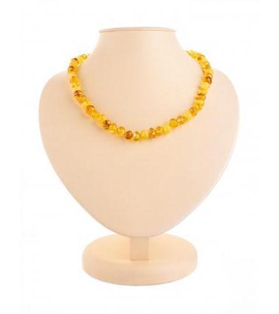 "Delicate amber beads ""Round motley pebbles"""
