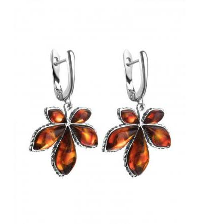 """Spectacular earrings """"Chestnut"""" made of silver and natural molded amber"""