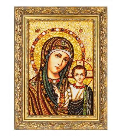 """Icon """"Our Lady of Kazan"""" made of natural Baltic amber with pearls and gems"""