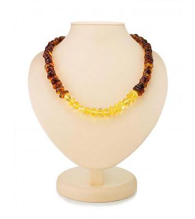 "Elegant beads from amber of two colors ""Large glossy pebbles"""