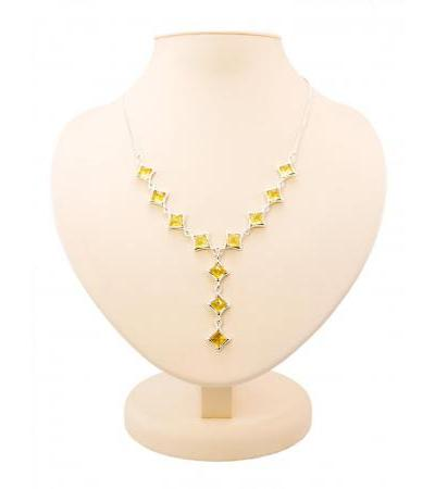 "Exquisite necklace made of silver with inserts of natural Baltic lemon amber ""Vega"""