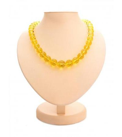 """Luxurious necklace made of natural solid amber """"Diamond lemon caramel"""""""