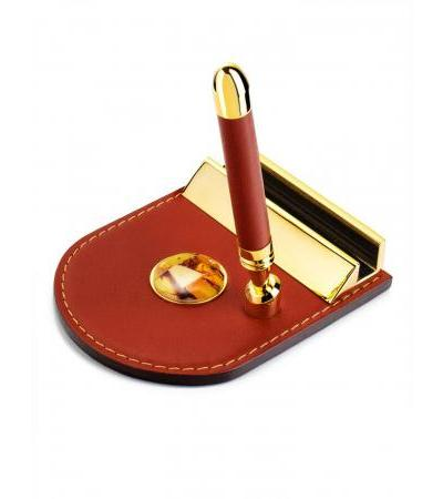 Metal and leather writing set decorated with amber mosaic