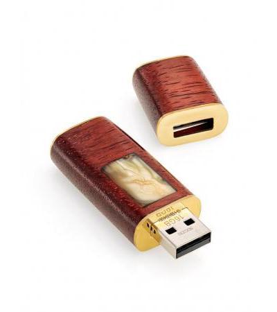 USB flash-card из древесины падука и натурального янтаря «Индонезия»