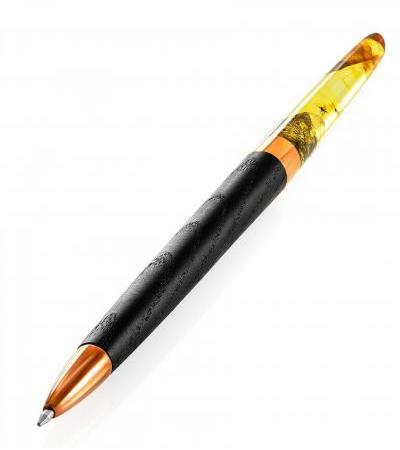 Ручка из морёного дерева и натурального балтийского янтаря с включениями насекомых