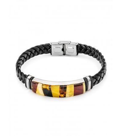 "Men's bracelet with amber mosaic ""Silverstone"""