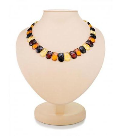 "Stunning ""Cleopatra"" necklace made of natural amber with diamond cut"