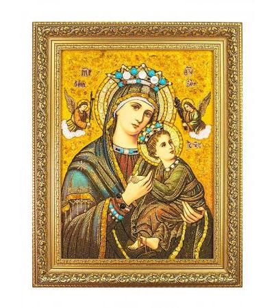 Passionate icon of the Mother of God made of amber with pearls and ornamental stones