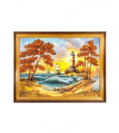 """Horizontal panel with natural amber """"The sea in the sunset rays"""""""