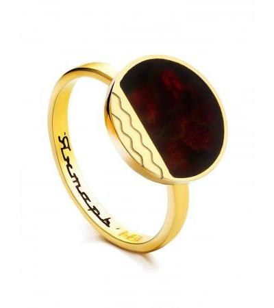 """Ring """"Monaco"""" Amber® in gilded silver and cherry amber"""