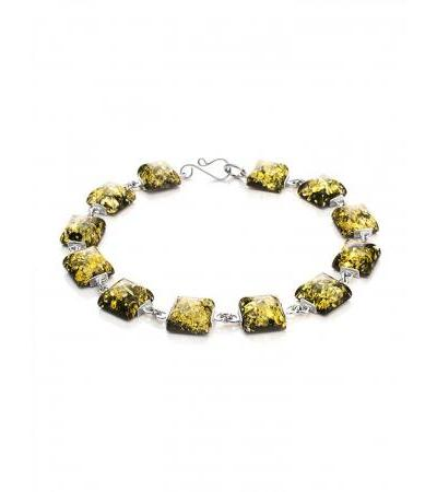 """Silver bracelet """"Ovation"""", decorated with green amber"""