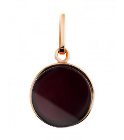 """Small round pendant made of cherry amber in gilded silver """"Furor"""""""
