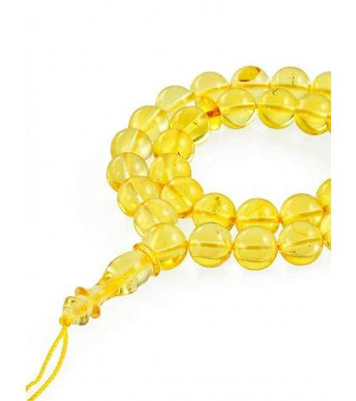 "Rosary from natural solid amber ""Lemon ball"""
