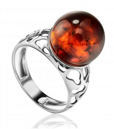 """Openwork silver ring """"Aphrodite"""" with an insert of cognac amber"""