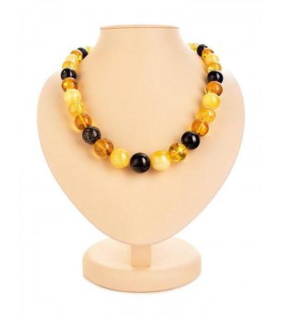 "Bright beads from natural amber of different colors ""Solaris"""