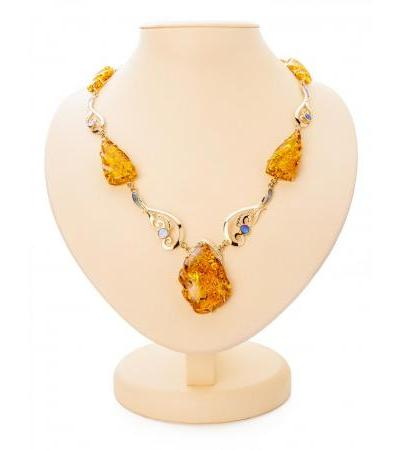 """Luxurious evening necklace made of gold with natural amber and mother-of-pearl """"Atlantis"""""""