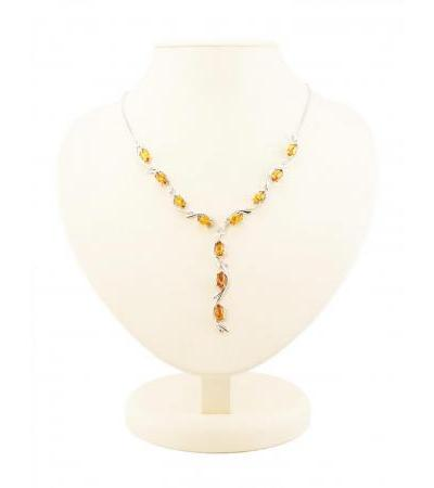 """Elegant lightweight necklace made of silver with natural sparkling amber of cognac color """"Iris"""""""