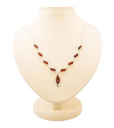 "Bright necklace made of silver and natural dark cognac amber ""Tilda"""