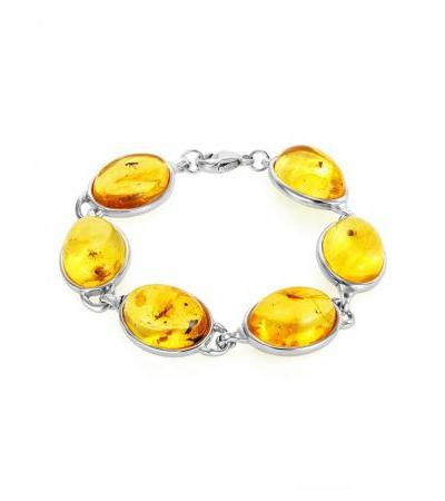 "Original bracelet ""Clio"" made of amber with inclusions and silver"