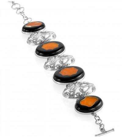 """Silver bracelet with natural dark honey amber """"Panther"""""""