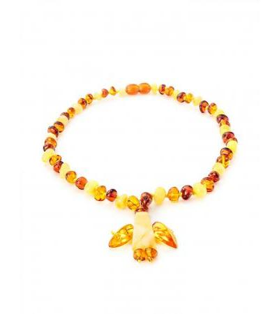 "Elegant amber beads with decorative pendant ""Angel"" for children"