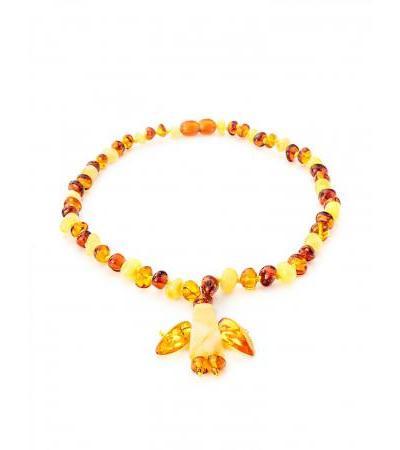 "Elegant amber beads with decorative pendant ""Angel"" for children"