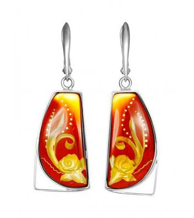 """Handmade amber earrings with carving in silver """"Elinor"""""""