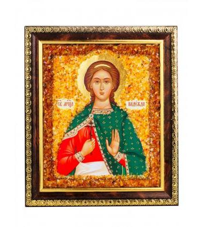 """Nominal icon decorated with natural amber """"The Holy Great Martyr Hope"""""""