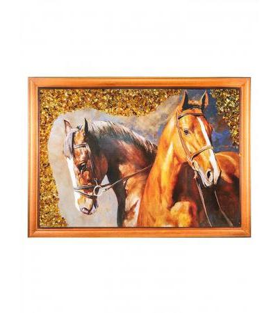 """Painting decorated with natural Baltic amber """"Horses"""" 23 (H) x 32 (W)"""