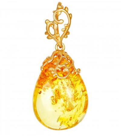"""Bright pendant made of silver and transparent lemon amber """"Versailles"""""""