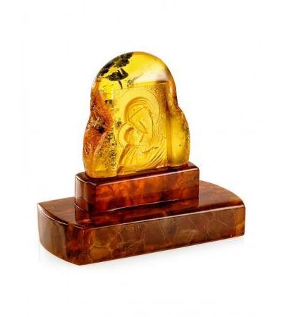 "Unique icon carved on solid lemon amber ""Igorevskaya Mother of God"""