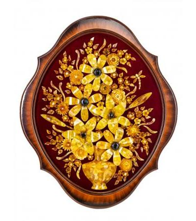 """Luxurious decorative panel made of natural amber on velvet """"Vase with lilies"""" 63 x 53 cm"""