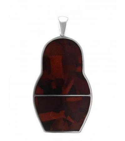 Оригинальная подвеска из серебра с балтийским янтарём Matryoshka®