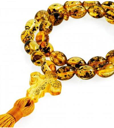 "Prayer beads made of natural whole amber ""Motley olives"""