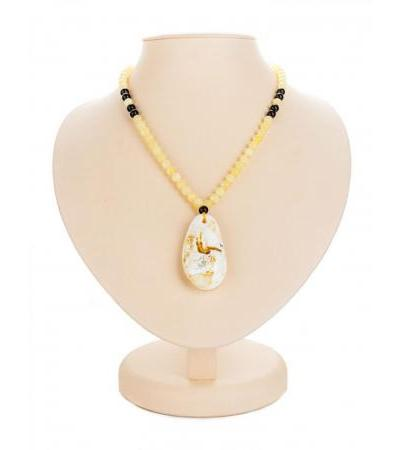 """Spectacular """"Laura"""" necklace in amber with landscape pendant"""