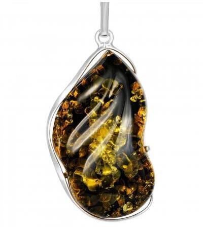 Роскошный кулон из серебра и натурального переливающегося янтаря «Лагуна»