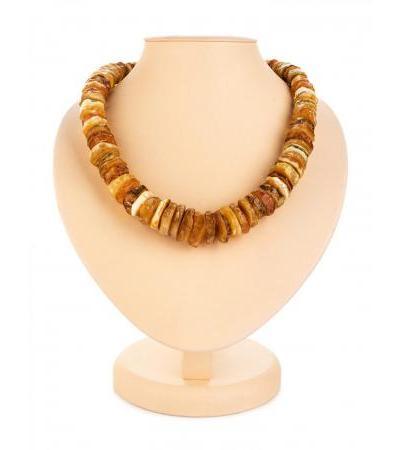 "Bulk beads made of natural solid amber ""Healing textured dark washers"""