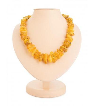 """Volumetric beads in ethnic style from natural amber """"Wild honey pebbles"""""""